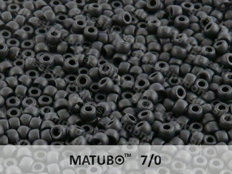 Mačkaný rokajl Matubo 7/0 - černý mat - 5g