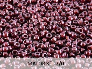 Mačkaný rokajl Matubo 7/0 - rubínový s listrem - 5g