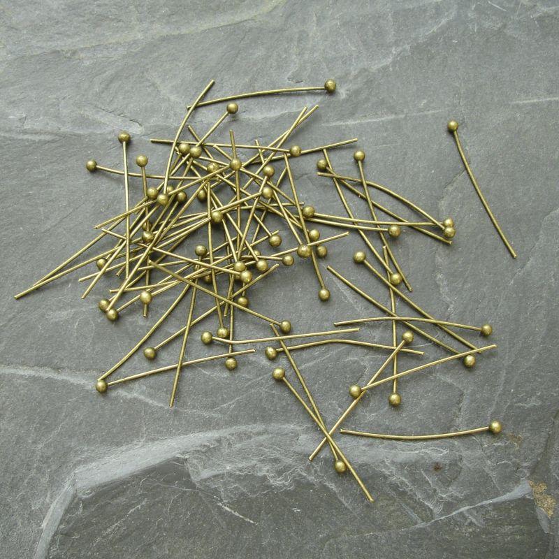 Nýty s kuličkou 20 mm - starobronzové - 50 ks