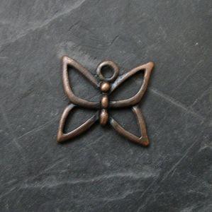Přívěsek motýlek 16x15mm - staroměděný - 1 ks