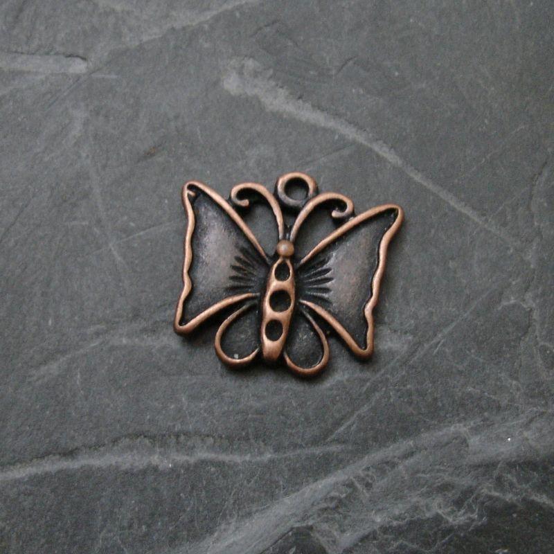 Přívěsek motýlek 19x17mm - staroměděný - 1 ks