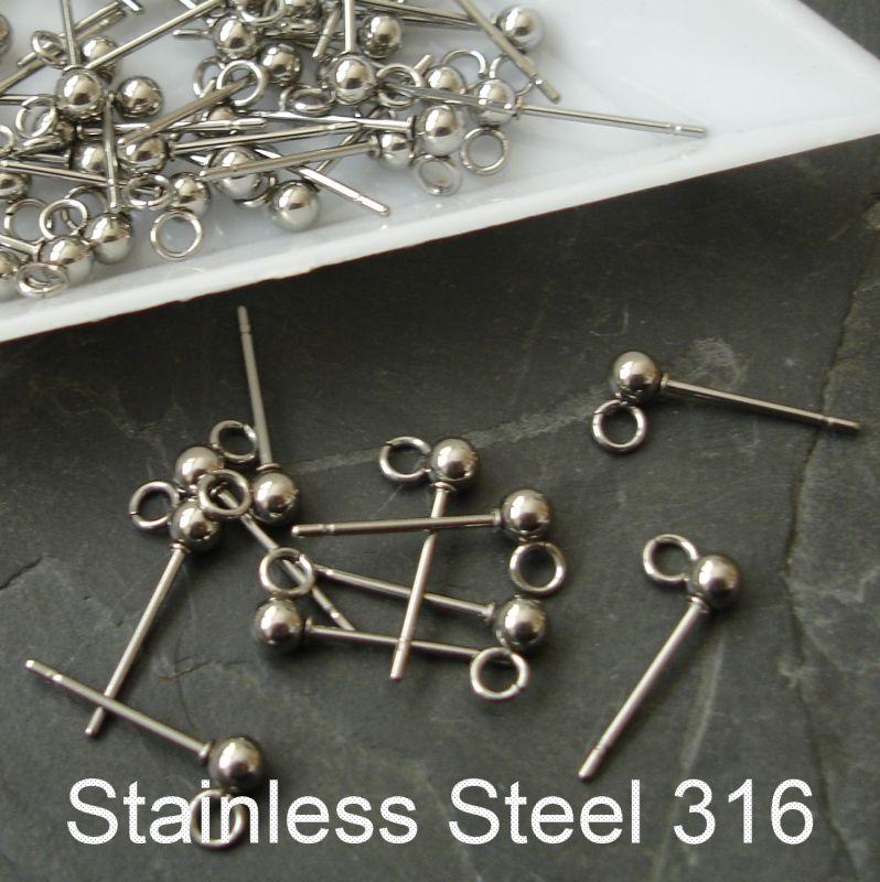 Puzety kuličky 3mm - nerezová ocel 316 (Stainless Steel) - 2 ks