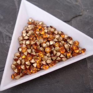 Skleněné šatony cca 3,7 - 3,8 mm - oranžovohnědé - 25 ks