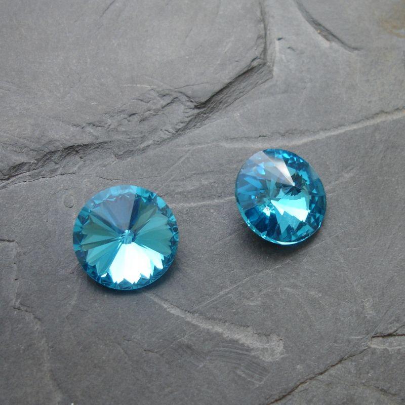 Skleněný broušený kamínek rivoli 16mm - azurový - 1 ks