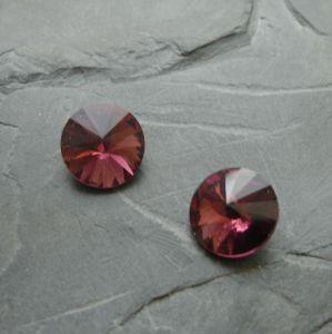 Skleněný broušený kamínek 16mm - fialovorůžový