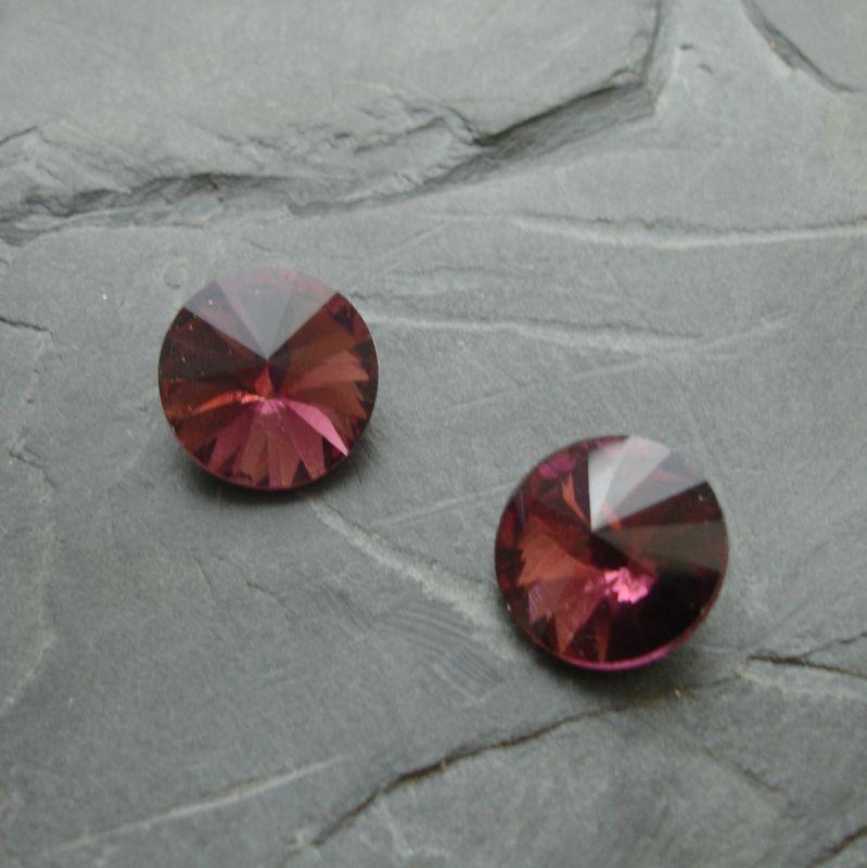 Skleněný broušený kamínek rivoli 16mm - fialovorůžový