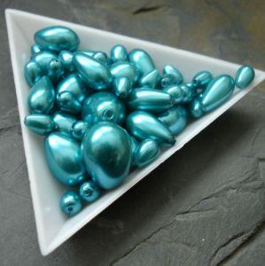 Skleněné voskované kapky - mix velikostí - zelenomodré - 30g