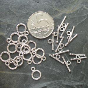 Americké zapínání mini 9x12mm - starostříbrné - 1 set