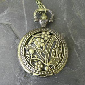 """Kapesní hodinky """"cibule"""" s motýlem - starobronzové - 1 ks"""