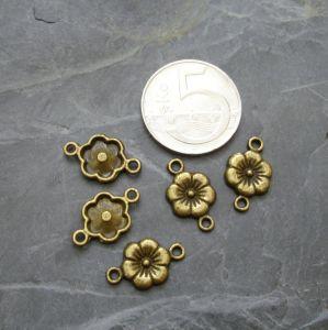 Konektor, mezikus květ 17x10 mm - starobronzový - 4 ks