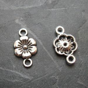 Spojovací díl květ 17x10 mm - starostříbrný - 4 ks