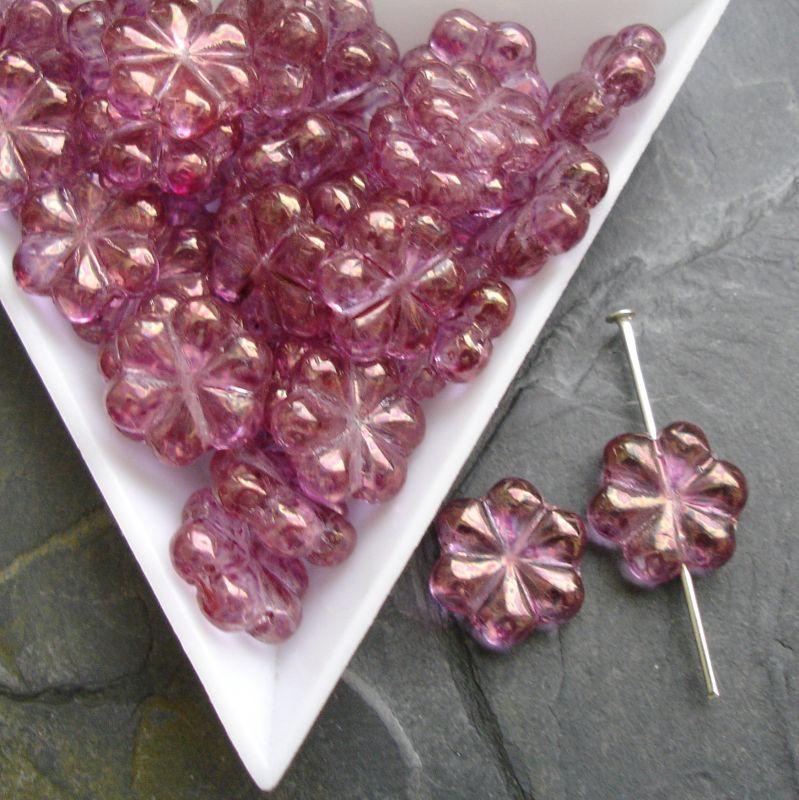 Mačkané korálky květinky cca 13mm - růžovofialové