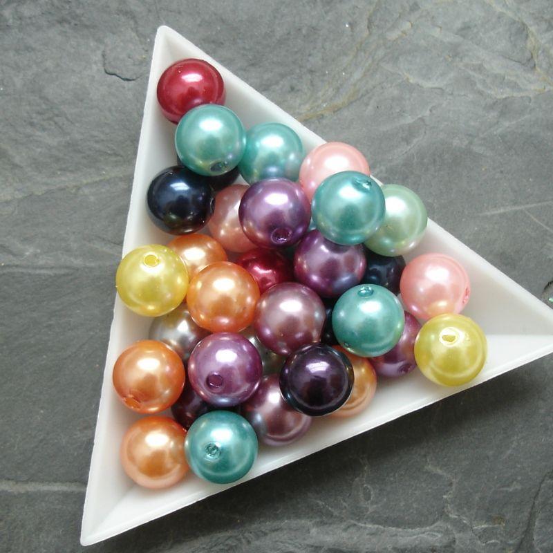 Plastové ( imitace perel ) korálky cca 10 mm - mix barev I.