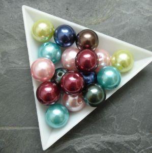 Plastové korálky cca 12 mm - mix barev I.