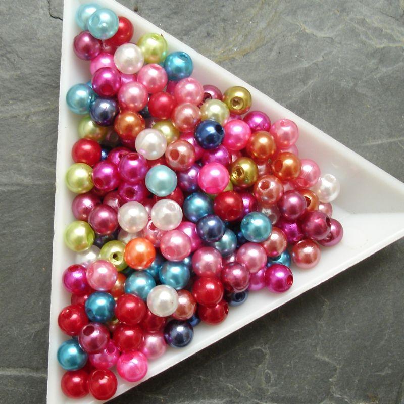 Plastové ( imitace perel ) korálky cca 5 mm - mix barev I.