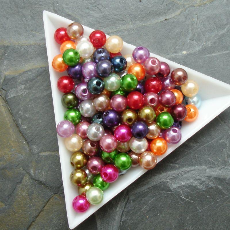 Plastové ( imitace perel ) korálky cca 6 mm - mix barev I.