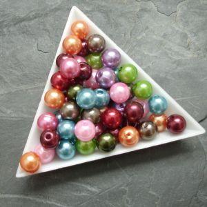 Plastové korálky cca 8 mm - mix barev I.