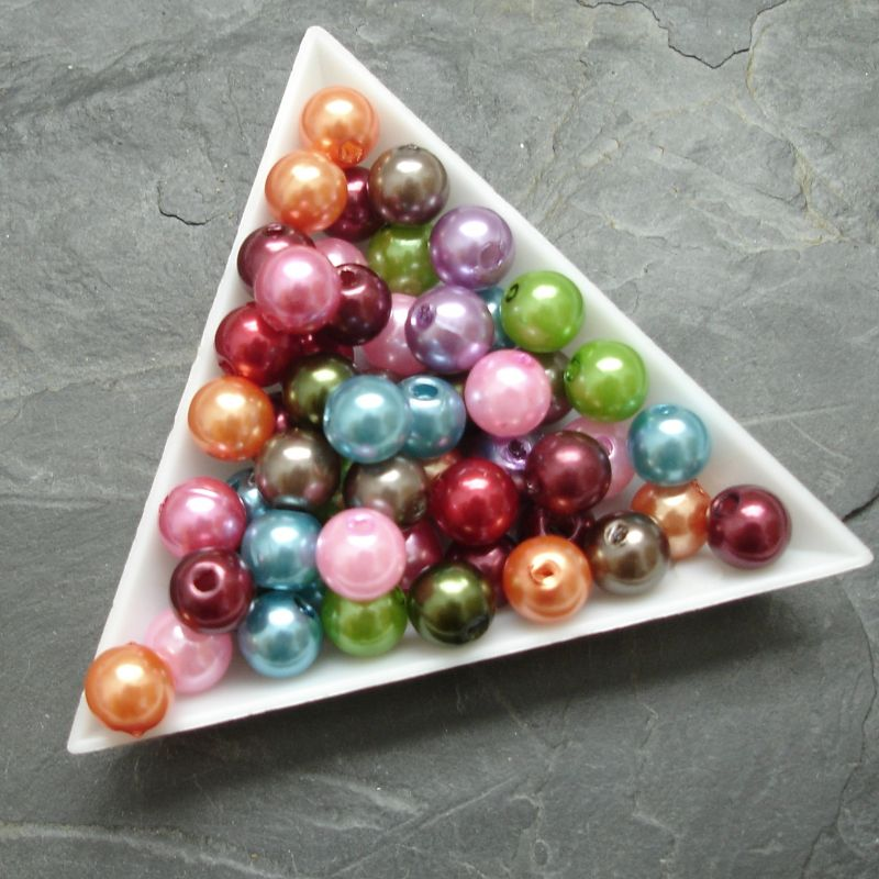 Plastové ( imitace perel ) korálky cca 8 mm - mix barev I. - 20 ks