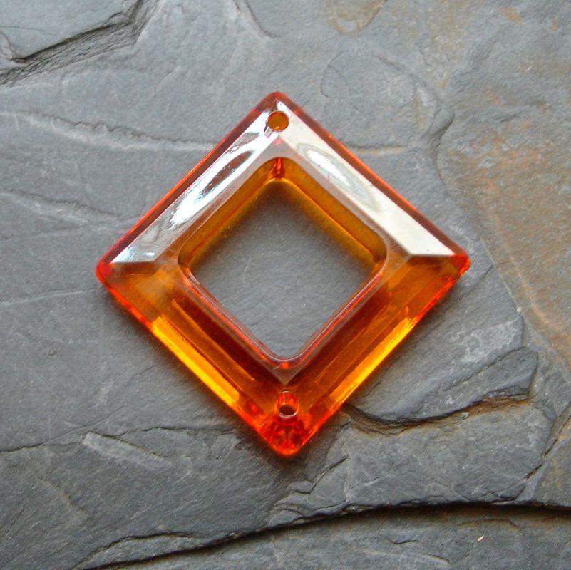 Plastový kosočtverec 29x29mm - oranžový - 1 ks