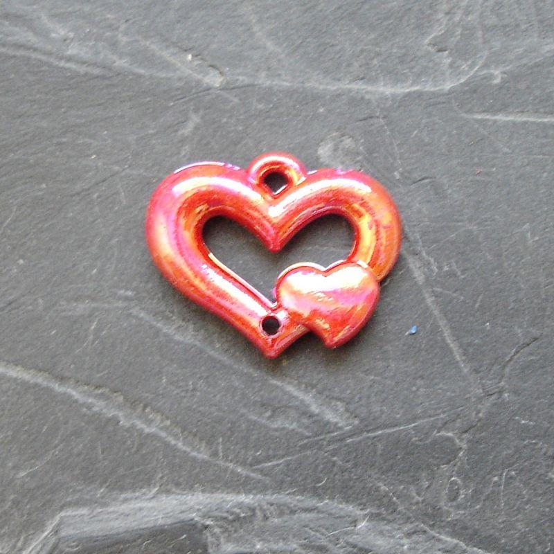 Plastový mezikus srdíčko 25x20mm - červený