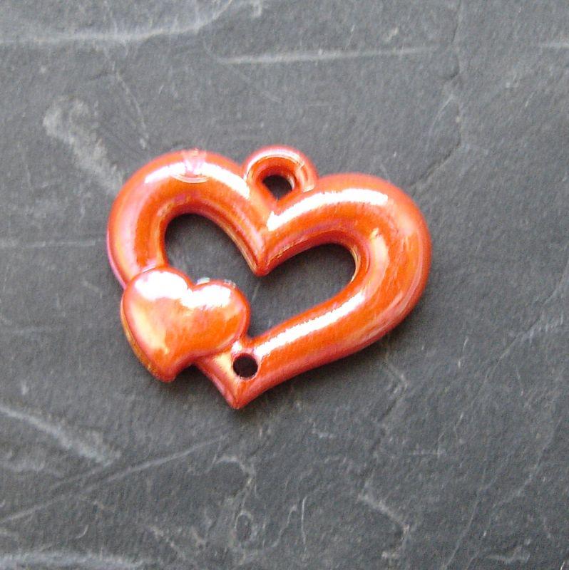 Plastový mezikus srdíčko 25x20mm - oranžový
