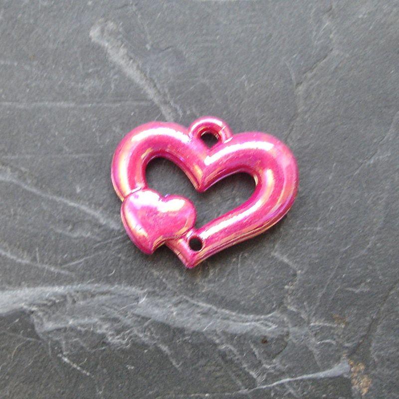 Plastový mezikus srdíčko 25x20mm - růžovofialový