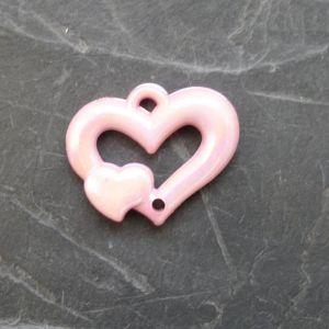 Plastové srdíčko 25x20mm - růžové
