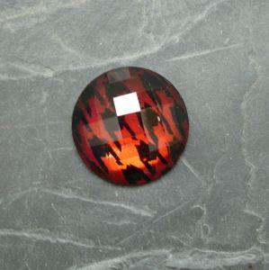 Plochý kulatý kabošon 25mm - červený