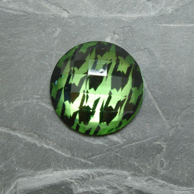 Plochý kulatý kabošon 25mm - zelený - 1 ks