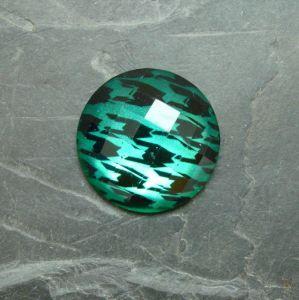 Plochý kulatý kabošon 25mm - zelený smaragdový - 1 ks