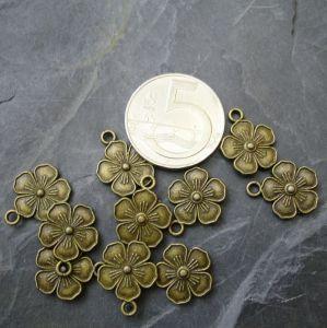 Přívěsek kytka 13 mm starobronzový - 1 ks