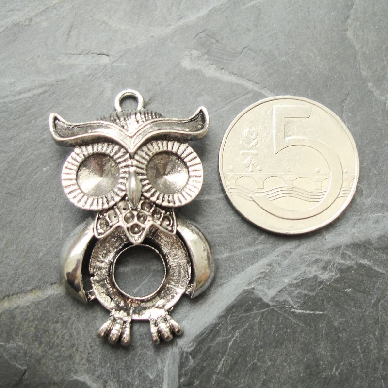 Přívěsek sova 25x41 mm - starostříbrná - 1 ks