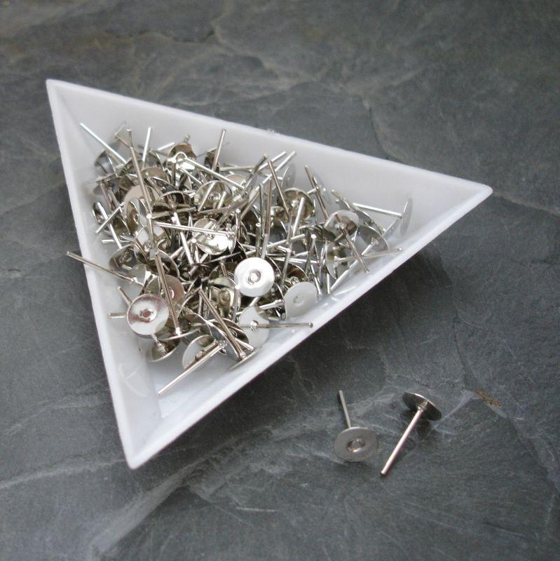 Puzety s ploškou 6mm - platinové
