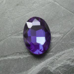 Skleněný broušený kamínek ovál 18 mm - tm. modrý
