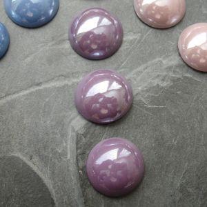 Skleněný kulatý kabošon cca 14mm - fialový - 2 ks