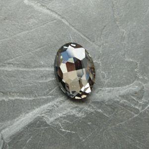 Skleněný broušený kamínek ovál 18 mm - černý kouřový - 1 ks