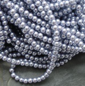 Skleněné voskované kuličky cca 4mm - šedomodré