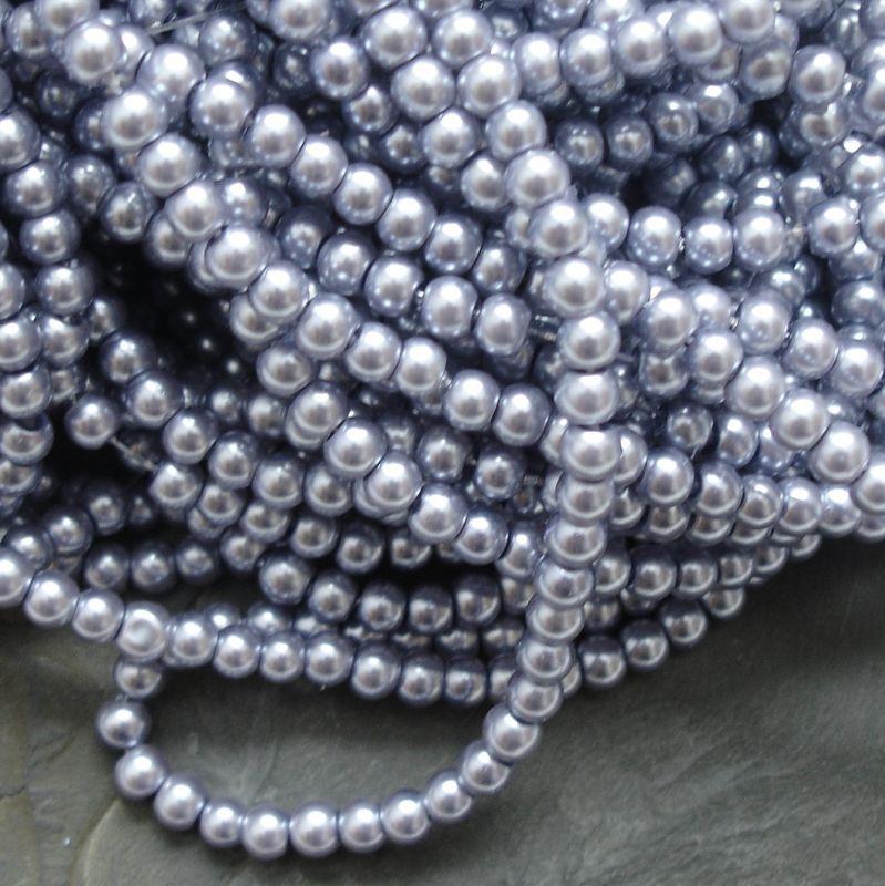 Voskované kuličky cca 4mm - šedomodré
