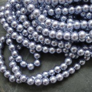 Skleněné voskované kuličky cca 6mm - šedomodré - 50 ks