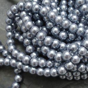 Skleněné voskované kuličky cca 8mm - šedomodré