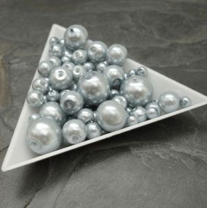Skleněné voskované kuličky - mix velikostí - modrošedé - 30 g