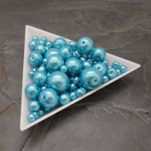 Skleněné voskované kuličky - mix velikostí - tyrkysové