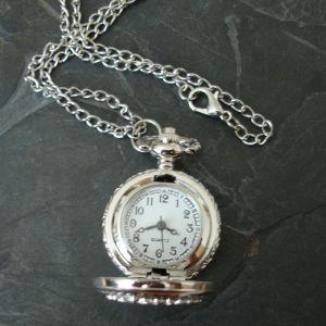 """Komponent malé kapesní hodinky """"cibule"""" s ornamentem II. - platinový - 1 ks"""