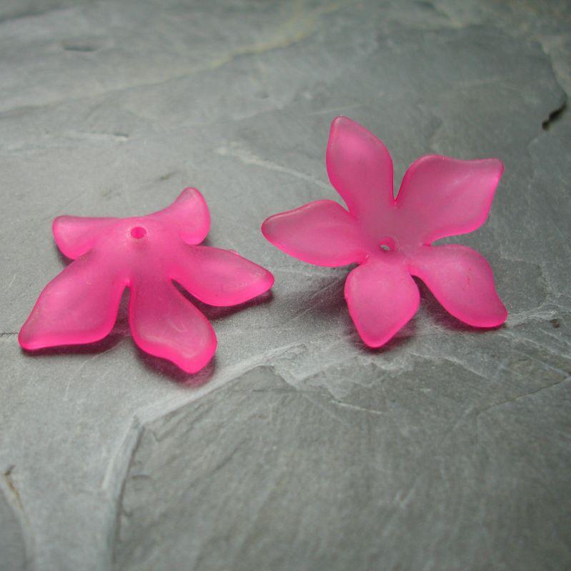 Akrylové kvítky 29mm - tm. růžové - 3 ks