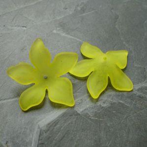 Akrylové kvítky 29mm - žluté - 3 ks