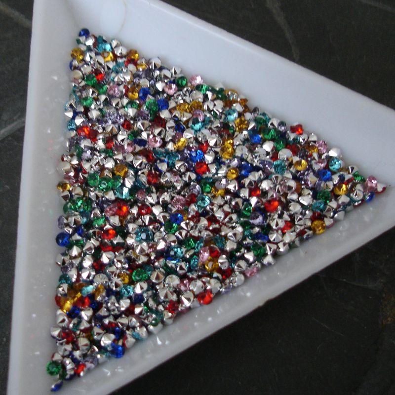 Akrylové šatony cca 2 mm - mix barev - 50 ks