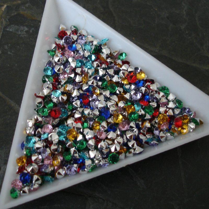 Akrylové šatony cca 3 mm - mix barev - 50 ks