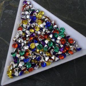 Akrylové šatony cca 4mm - mix barev - 50 ks