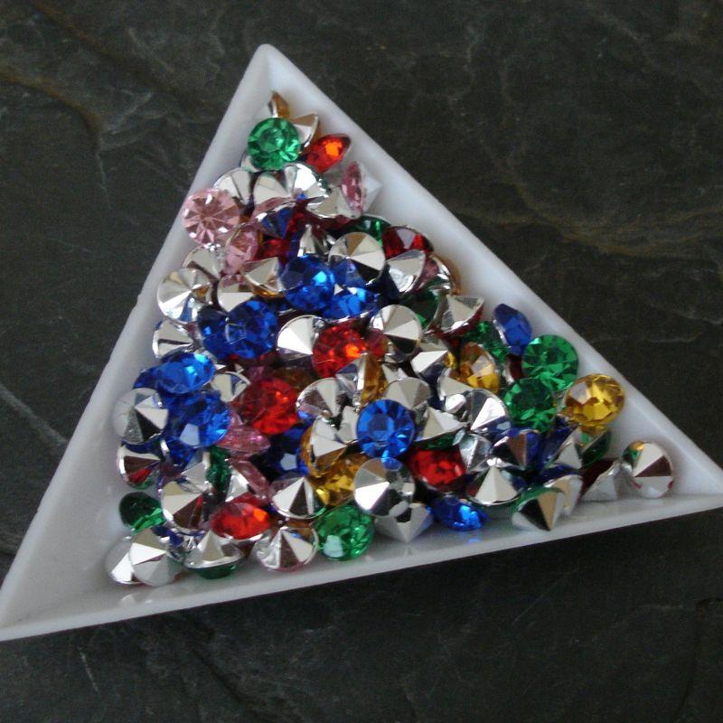 Akrylové šatony cca 6 mm - mix barev - 25 ks