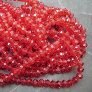 Broušené rondelky cca 6x4mm - červené